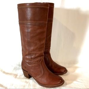 Frye Jane Stitch Tall Brown Leather Riding Boots 8